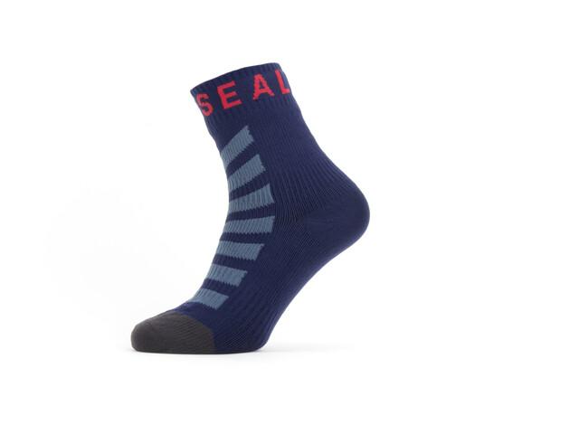 Sealskinz Waterproof Warm Weather Ankle Socks with Hydrostop, navy blue/grey/red